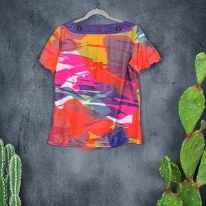 Tory Burch Tops - Tory Burch Silk Watercolor Blouse Top Short Sleeve
